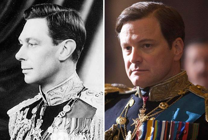 Colin Firth (r) played King George VI (l) in Oscar winner *The King's Speech*.