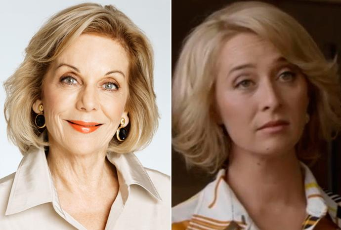 Asher Keddie (r) as Ita Buttrose (l) in TV special *Paper Giants*.