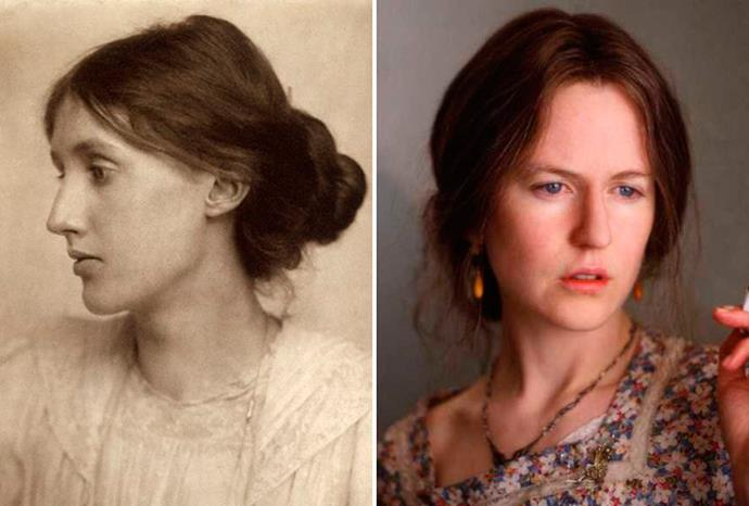 Another Oscar winner Nicole Kidman (r) as Virginia Woolf (l) in *The Hours*.