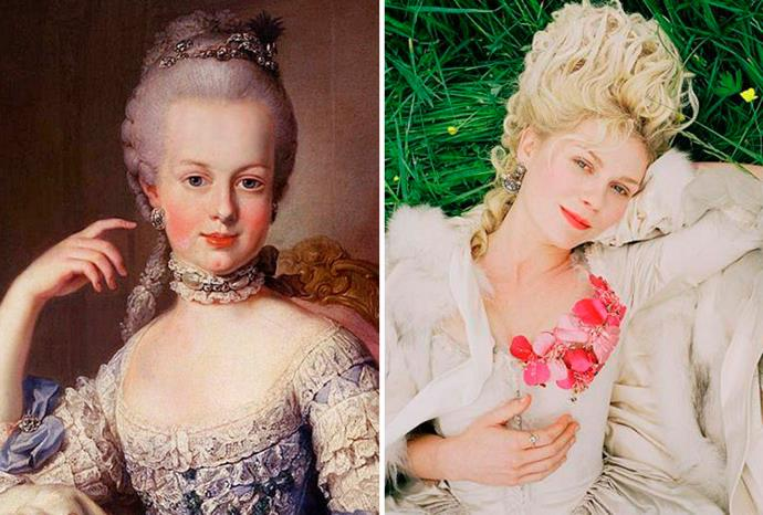 Kirsten Dunst (r) as Marie Antoinette (l) in the movie of the same name.