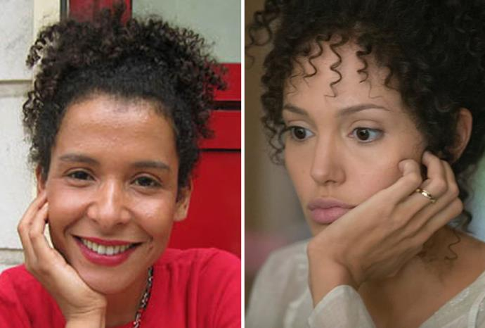 Angelina Jolie (r) as Mariane Pearl (l) in *A Mighty Heart*.