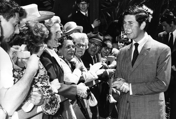 Prince Charles greets Australian fans in 1974.