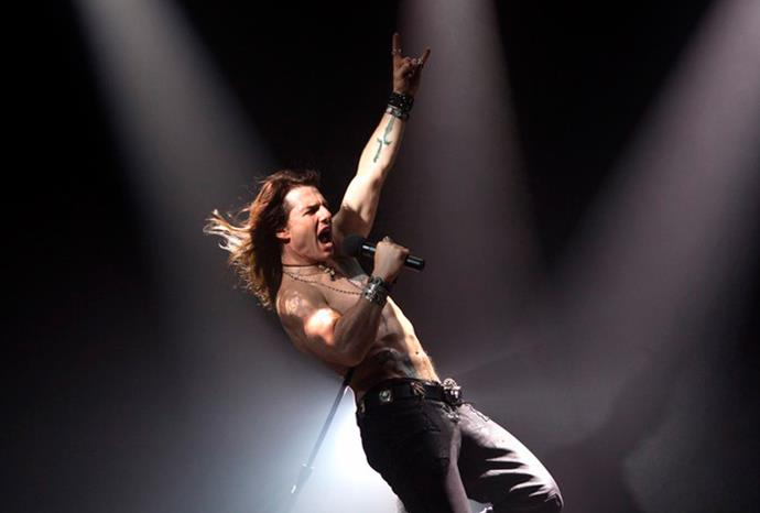 Tom hams it up as rocker Stacee Jaxx in upcoming movie *Rock of Ages*.