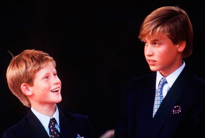 Harry stares up at his older brother at a VJ Day celebration in 1995.