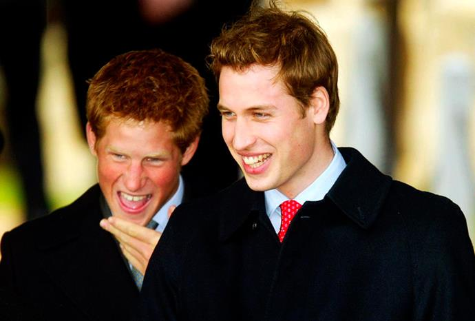 Harry can't stop laughing at the royals Christmas service in 2003.