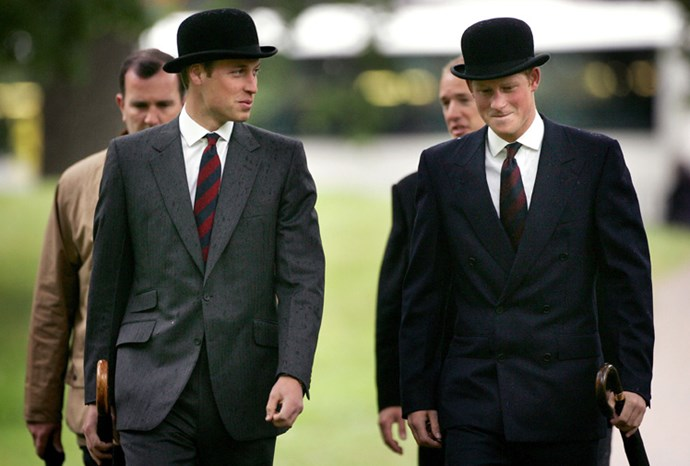 William and Harry looking dapper in the rain in London in 2007.