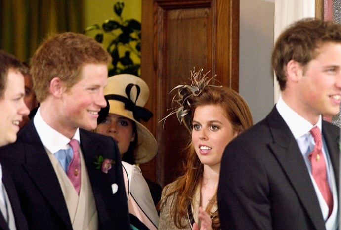 Beatrice with William and Harry at a wedding in 2005.