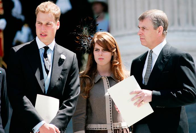 Prince William, Eugenie and Prince Andrew in London in 2006.
