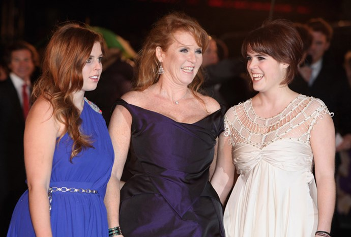 Fergie, Beatrice and Eugenie attend a London film premiere in 2009.