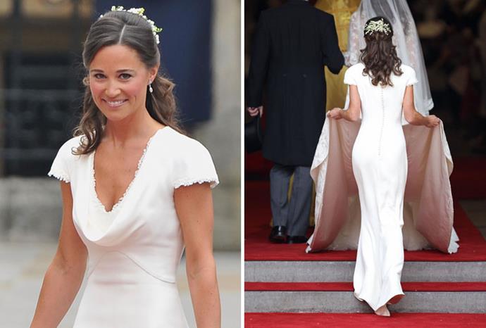 Pippa Middleton in her Alexander McQueen bridesmaid dress.