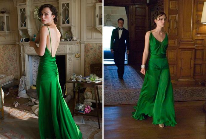 Keira Knightley's breathtaking green gown from her hit film *Atonement*.