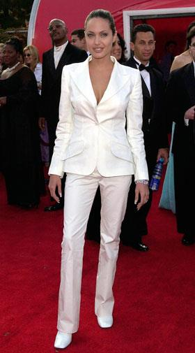 Angelina Jolie's white suit at the 2001 Oscars transformed her from gothic outcast to star.