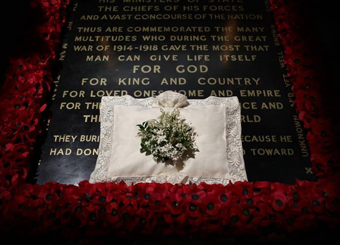 Catherine's bouquet on the Tomb of the Unknown Soldier in Westminster Abbey