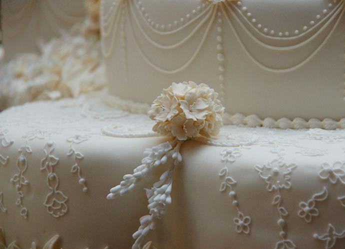 Close-up of William and Catherine's eight-tier wedding cake