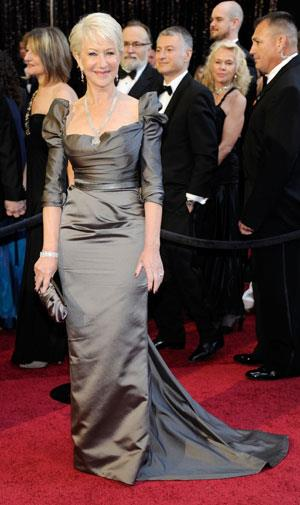Helen Mirren covered up her famous assets in a grey silk Vivienne Westwood frock