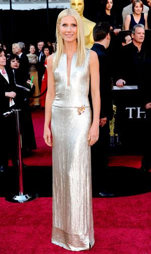 Gwyneth Paltrow showed off her svelte physique in silvery Calvin Klein