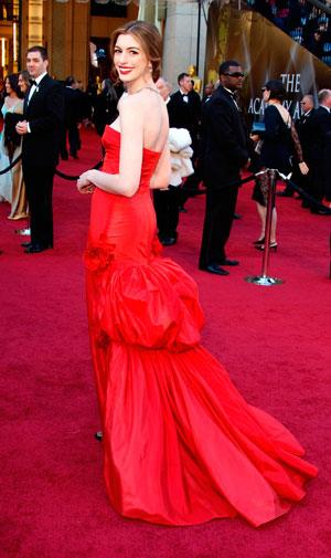 This Valentino creation was the first of several outfits worn by host Anne Hathaway