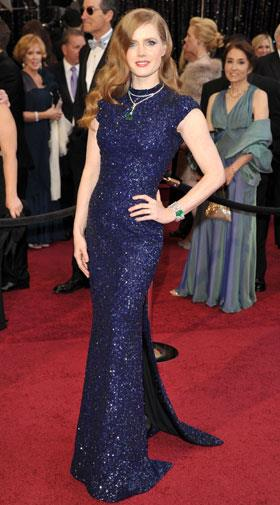 Amy Adams squeezed her petite frame into a sparking gown by L'Wren Scott