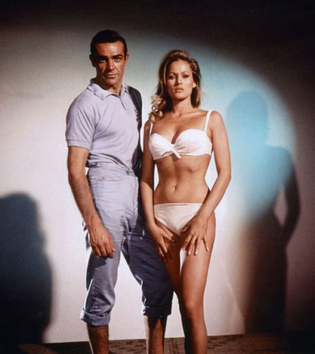 Ursula Andress with Sean Connery in 1962 James Bond film *Dr No*