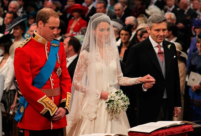 Michael Middleton with his eldest daughter Kate at her wedding to Prince William.