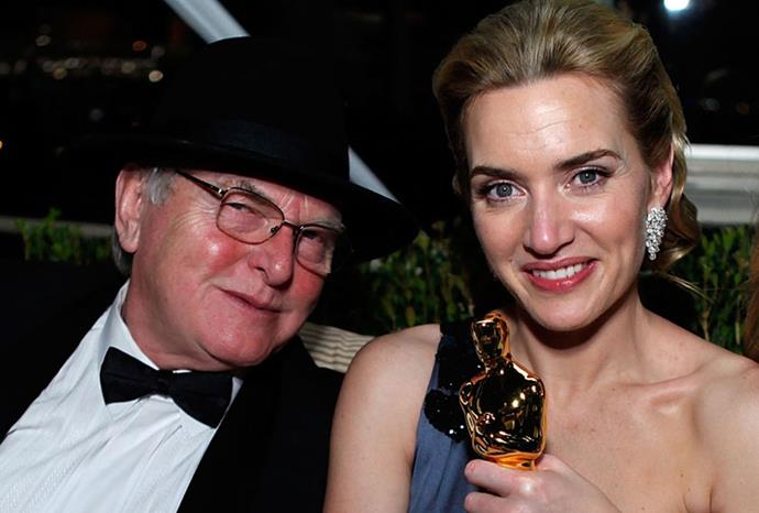 Kate Winslet with father Roger at the 2009 Vanity Fair Oscars party.