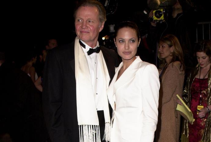 Angelina Jolie with dad Jon Voight. He played her father in *Lara Croft: Tomb Raider*.