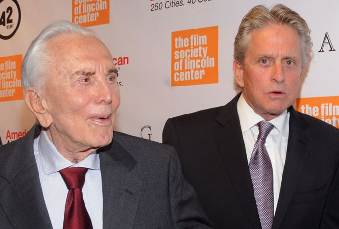 Michael Douglas with his 94-year-old father, Kirk Douglas.