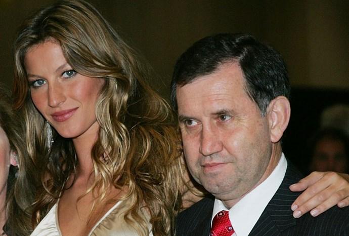 Brazilian model Gisele Bundchen poses with her German-born dad, Vania.