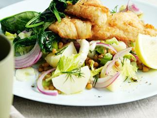Fish with potato and lentil salad