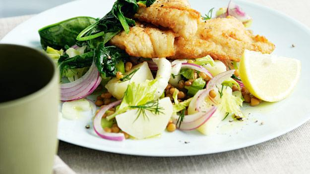 "**[Fish with potato and lentil salad](https://www.womensweeklyfood.com.au/recipes/fish-with-potato-and-lentil-salad-8334|target=""_blank"")**"