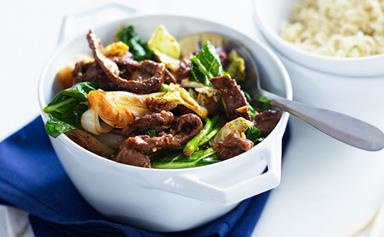 Peanut chilli beef with choy sum