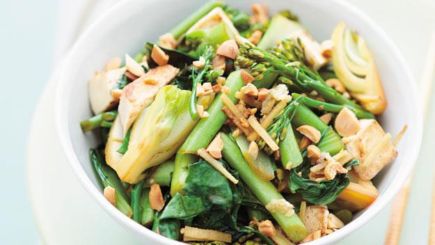 """**[Stir-fried Asian greens with tofu](https://www.womensweeklyfood.com.au/recipes/stir-fried-asian-greens-with-tofu-10914 target=""""_blank"""")**  These fresh Asian greens should be just tender when cooked. Fragrant garlic and ginger infuse both the greens and the tofu, and peanuts add crunch."""