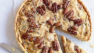 Festive caramel nut tart