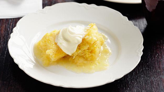 "**[Lemon lime polenta self-saucing pudding](https://www.womensweeklyfood.com.au/recipes/lemon-lime-polenta-self-saucing-pudding-11724|target=""_blank"")**"