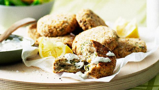 "**[Salmon cakes with caper sauce](https://www.womensweeklyfood.com.au/recipes/salmon-cakes-with-caper-sauce-12674|target=""_blank"")**"