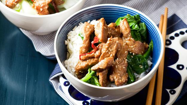 "**[Sesame pork stir-fry](https://www.womensweeklyfood.com.au/recipes/sesame-pork-stir-fry-12650|target=""_blank"")**"