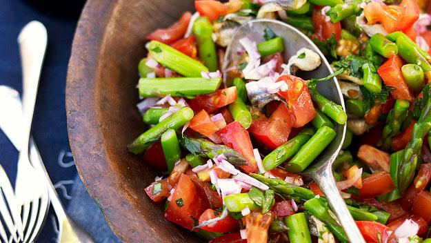 "**[Tomato, asparagus and white anchovy salad](https://www.womensweeklyfood.com.au/recipes/tomato-asparagus-and-white-anchovy-salad-12664|target=""_blank"")**"