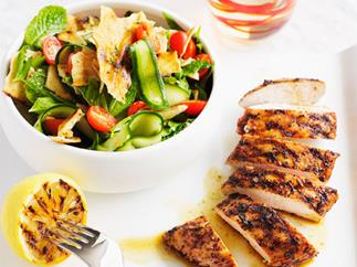 Barbecued chicken with minted tomato salad