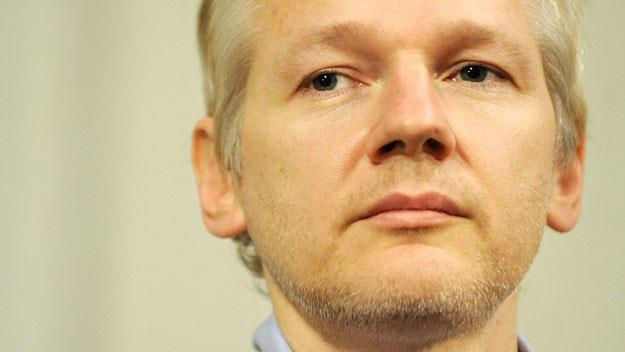 Julian Assange at a press conference in London
