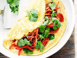 Vegetable noodle omelettes