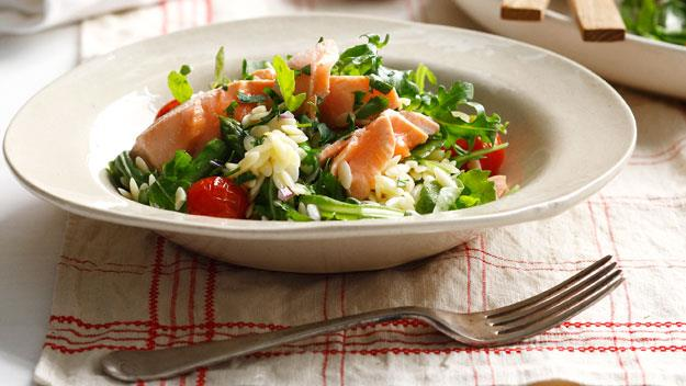 "**[Poached salmon with asparagus, rocket and risoni salad.](https://www.womensweeklyfood.com.au/recipes/poached-salmon-with-asparagus-rocket-and-risoni-salad-14652|target=""_blank"")**   This recipe can be prepared a few hours ahead but add rocket just before serving."