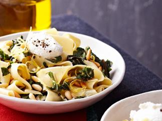 Pappardelle with silver beet, goat's cheese, chilli and lemon