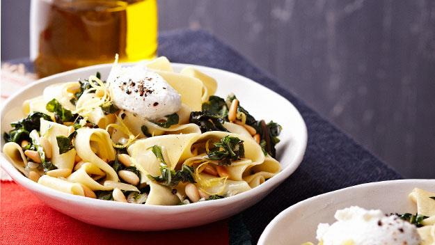 "**[Pappardelle with silver beet, goat's cheese, chilli and lemon](https://www.womensweeklyfood.com.au/recipes/pappardelle-with-silverbeet-goat-cheese-chilli-and-lemon-14351|target=""_blank"")**"