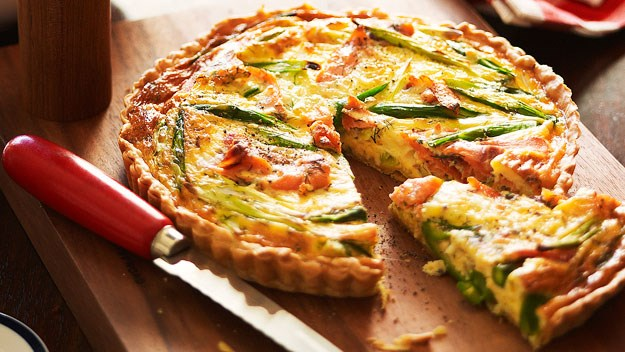"**[Smoked salmon and asparagus quiche](https://www.womensweeklyfood.com.au/recipes/smoked-salmon-and-asparagus-quiche-14659|target=""_blank"")**  Smeared in whole grain mustard, this smoked salmon quiche is topped with a sprinkling of asparagus and encased in a crunchy golden crust."