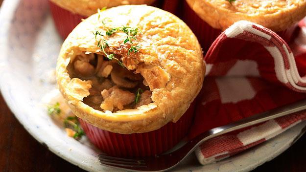 "**[Individual chicken and mushroom pies](https://www.womensweeklyfood.com.au/recipes/individual-chicken-and-mushroom-pies-14658|target=""_blank"")**  Who doesn't love a pie? It's like a big warm hug."