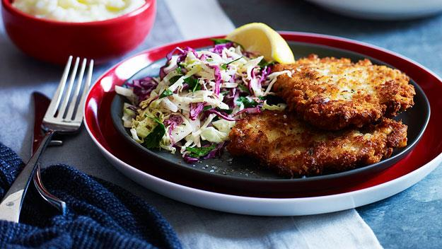 "**[Gourmet schnitzel](https://www.womensweeklyfood.com.au/recipes/gourmet-schnitzel-15293|target=""_blank"")**  Crunchy lemon, garlic and thyme pork schnitzels are a world away from the cheap, thin, cardboard served up in some establishments. Serve with a winter slaw on the side for added crunch."