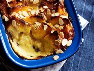 Bread and butter pudding with banana and almonds