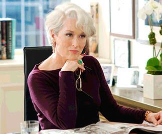 Meryl Streep as a demanding magazine editor in The Devil Wears Prada