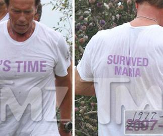 Arnold Schwarzenegger wears 'I survived Maria' shirt