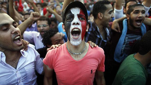 Protestors in Cairo's Tahrir Square.